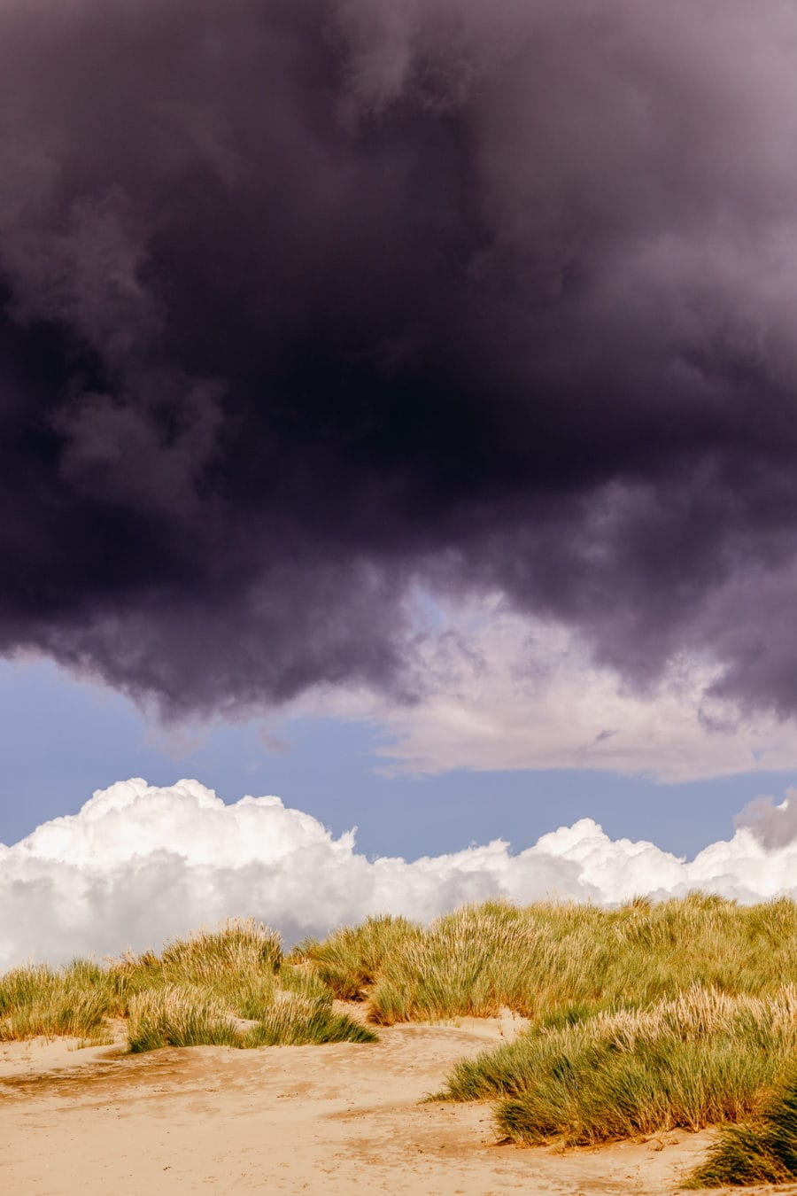 Black clouds and Sand dunes at Camber