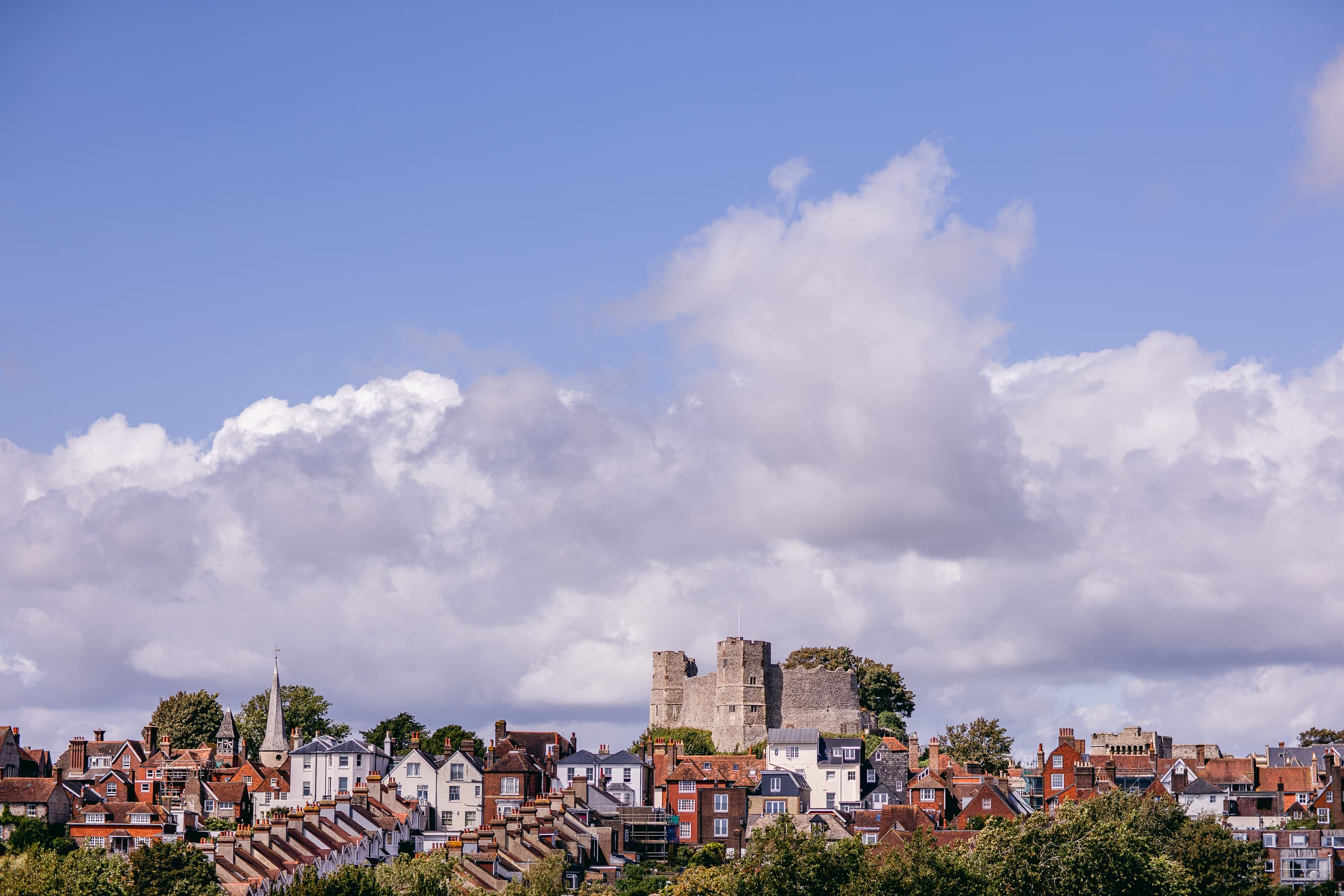 A view up the hill to Lewes castle